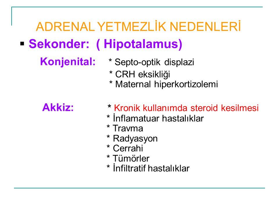 ADRENAL YETMEZLİK NEDENLERİ Sekonder: ( Hipotalamus)