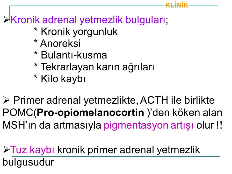 Kronik adrenal yetmezlik bulguları; * Kronik yorgunluk * Anoreksi