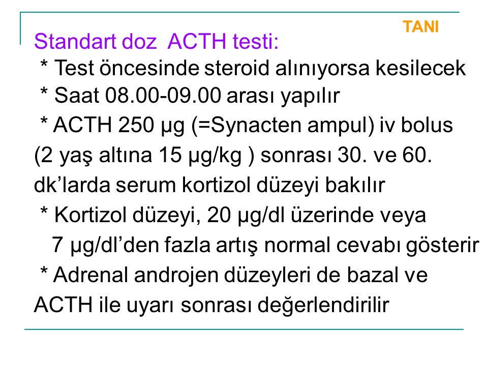 Standart doz ACTH testi: * Test öncesinde steroid alınıyorsa kesilecek