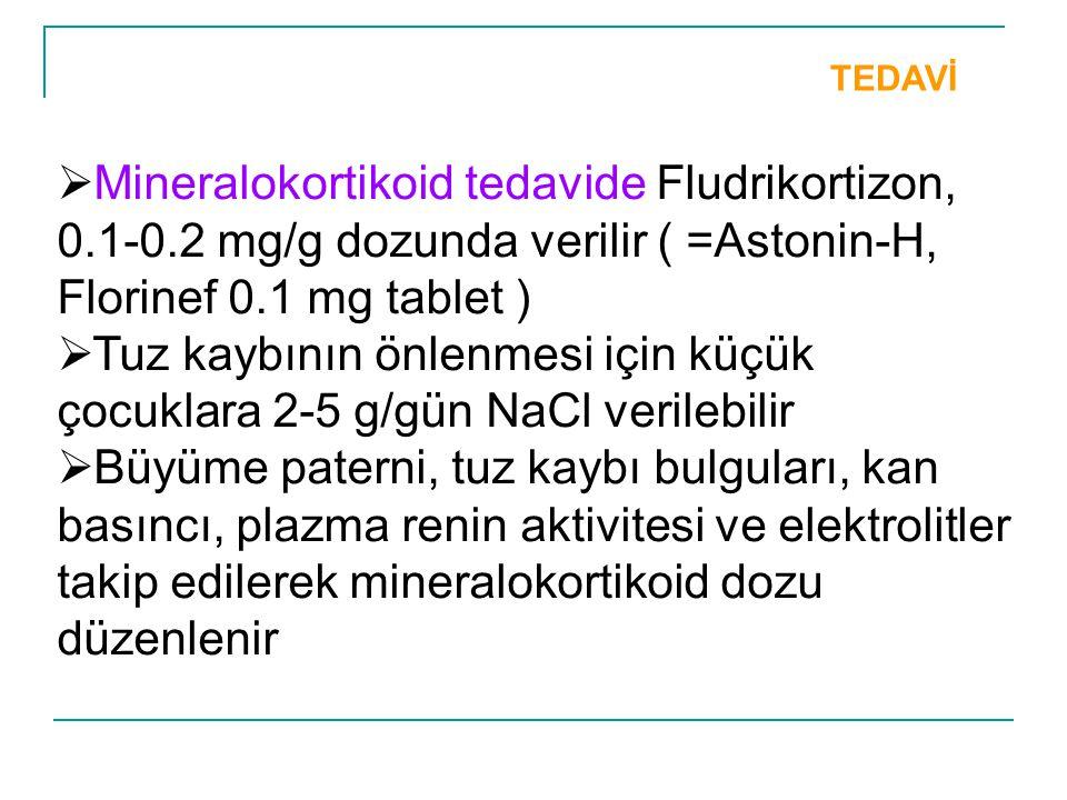 Tuz kaybının önlenmesi için küçük çocuklara 2-5 g/gün NaCl verilebilir