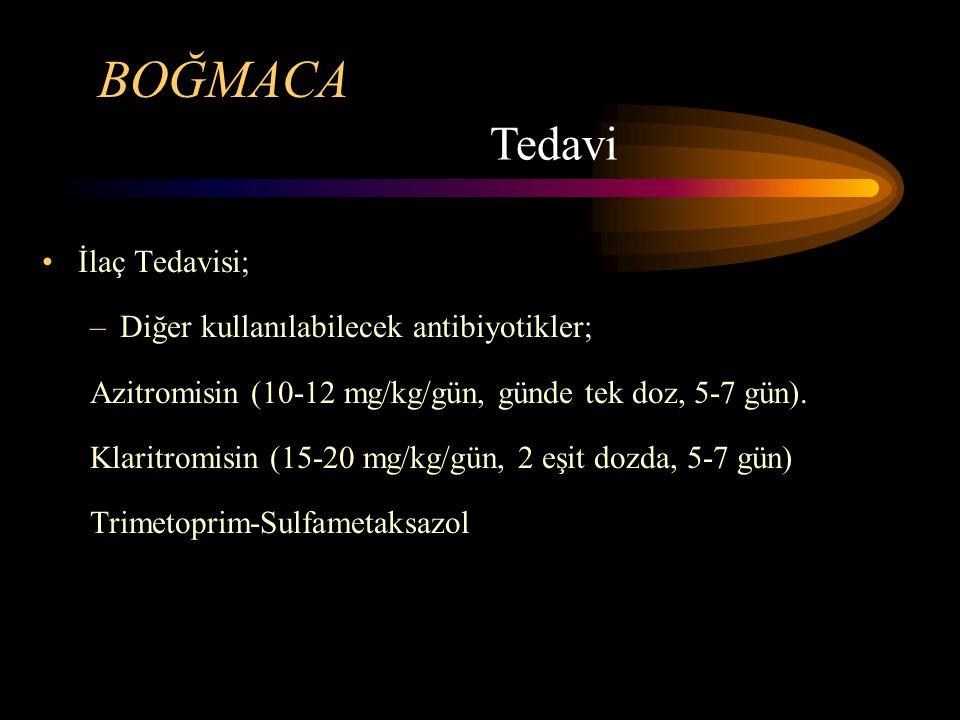 BOĞMACA Tedavi İlaç Tedavisi; Diğer kullanılabilecek antibiyotikler;