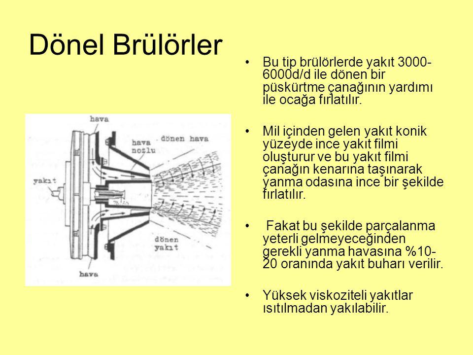 Dönel Brülörler Bu tip brülörlerde yakıt 3000-6000d/d ile dönen bir püskürtme çanağının yardımı ile ocağa fırlatılır.