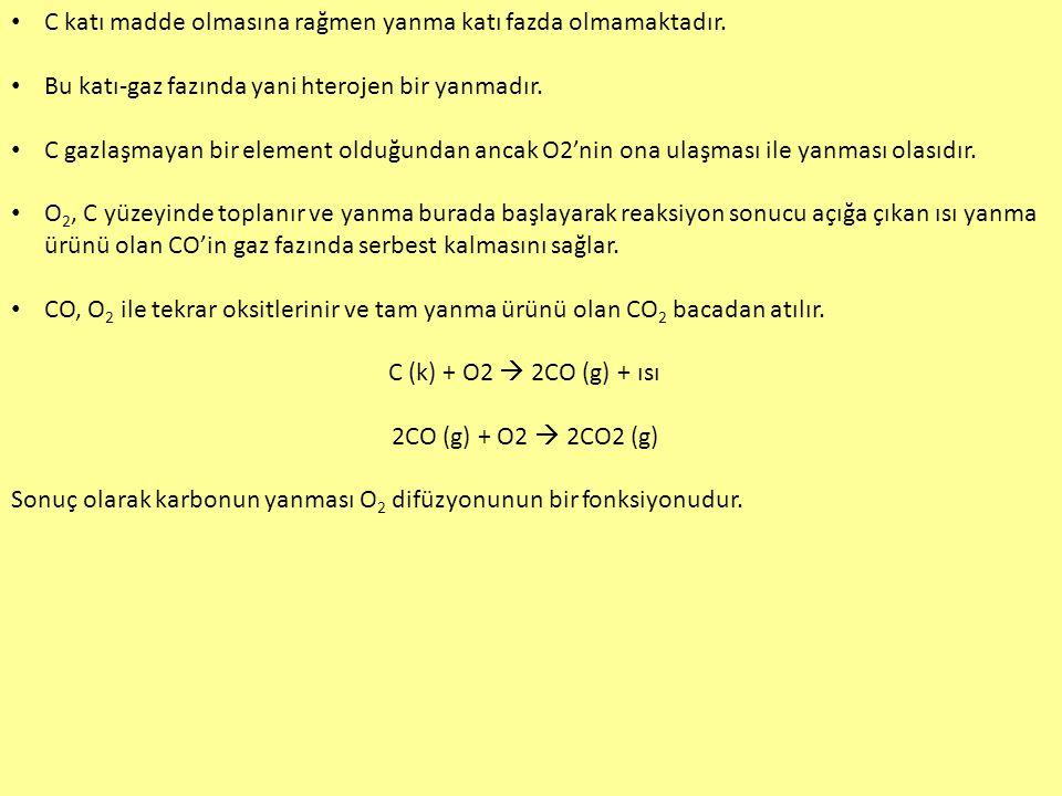 C katı madde olmasına rağmen yanma katı fazda olmamaktadır.