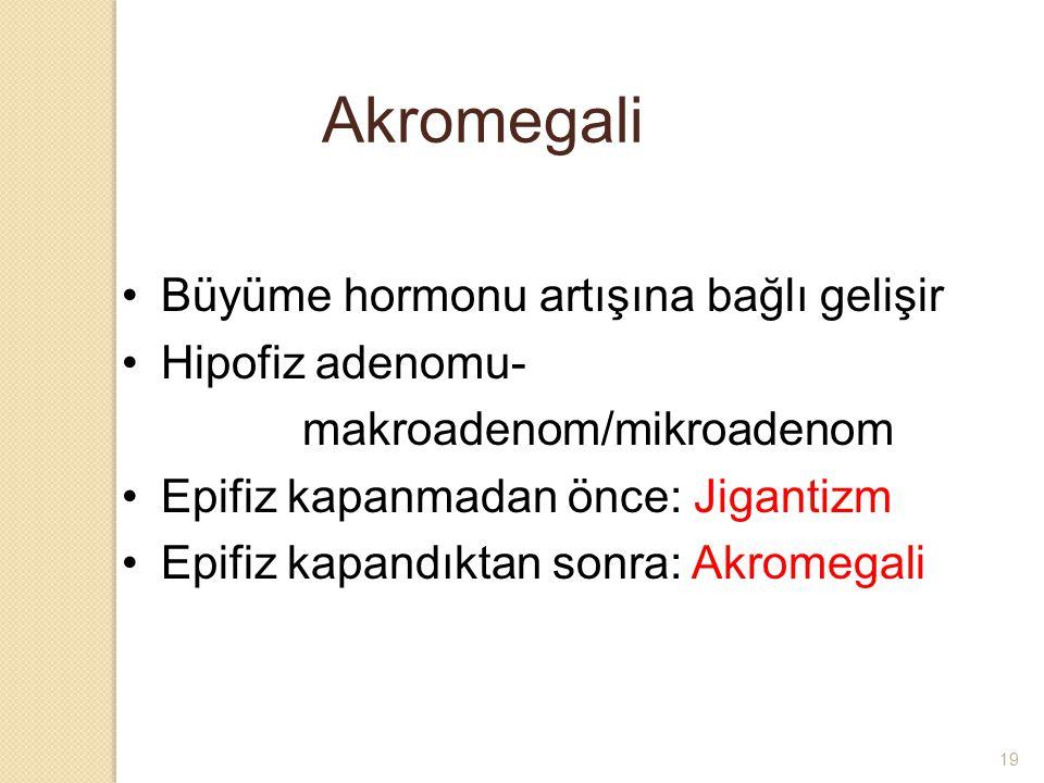 Akromegali Büyüme hormonu artışına bağlı gelişir Hipofiz adenomu-