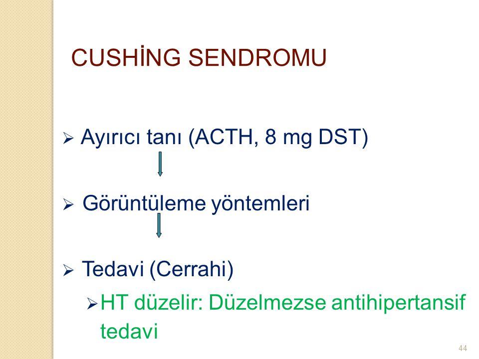 CUSHİNG SENDROMU Ayırıcı tanı (ACTH, 8 mg DST) Görüntüleme yöntemleri