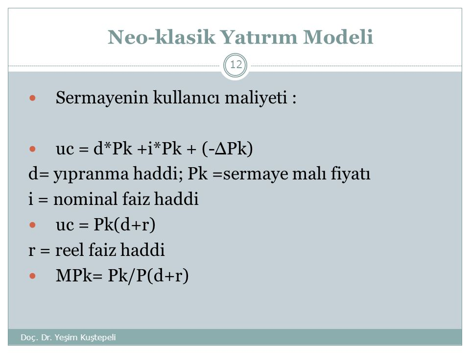 Neo-klasik Yatırım Modeli
