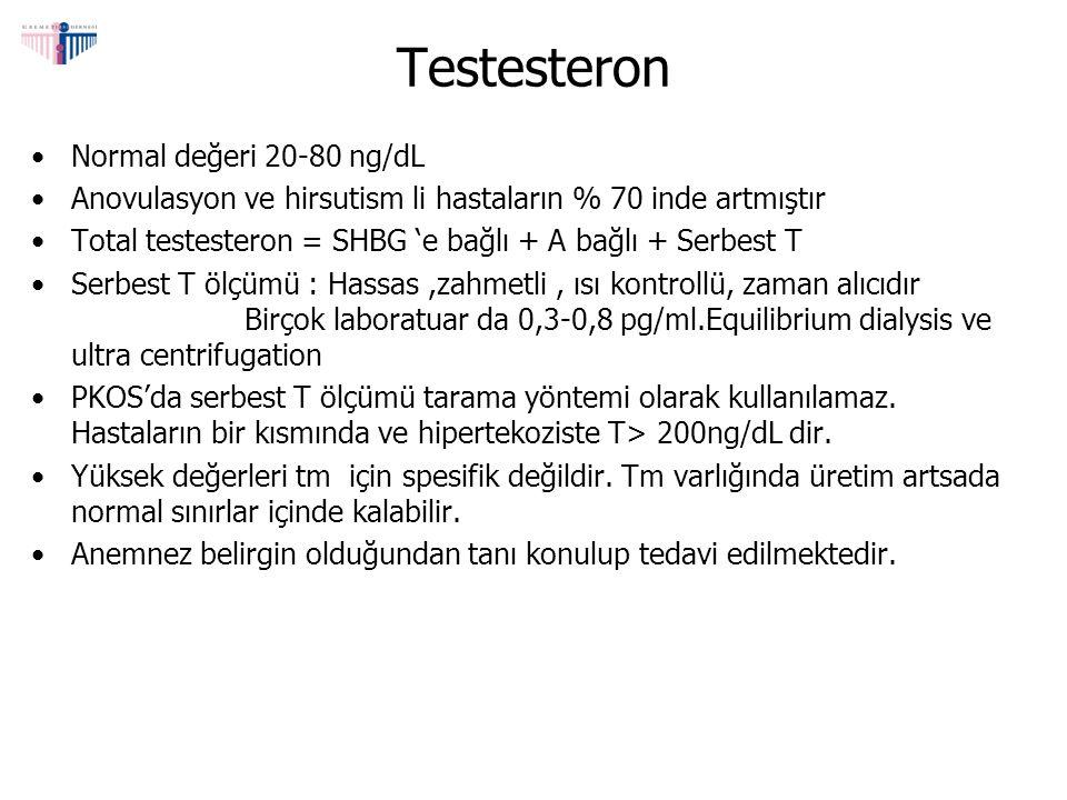 Testesteron Normal değeri 20-80 ng/dL