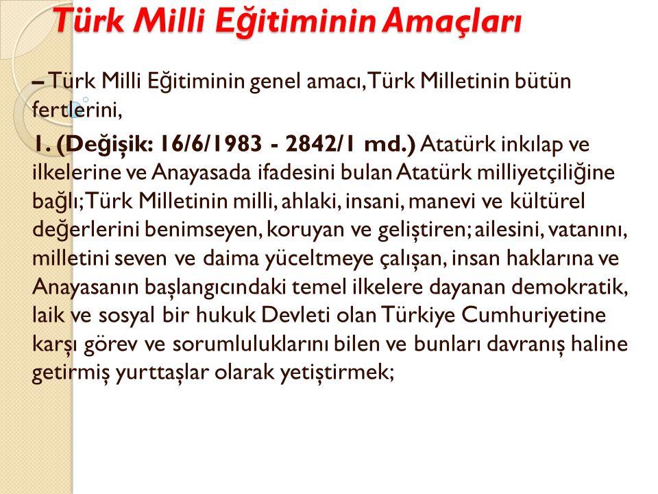 Türk Milli Eğitiminin Amaçları
