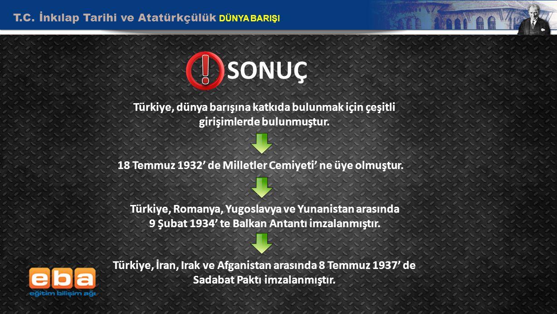 T.C. İnkılap Tarihi ve Atatürkçülük DÜNYA BARIŞI