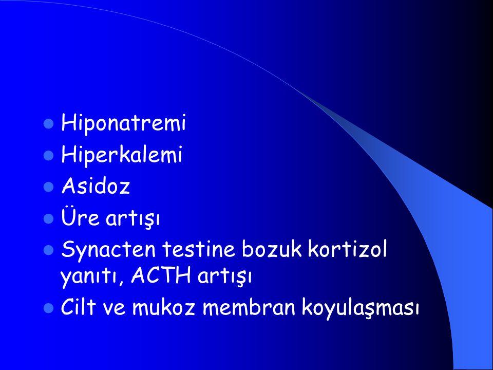 Hiponatremi Hiperkalemi. Asidoz. Üre artışı. Synacten testine bozuk kortizol yanıtı, ACTH artışı.