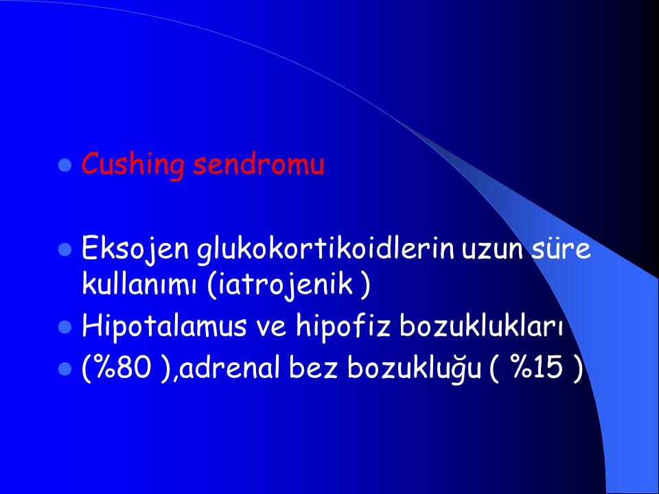 Cushing sendromu Eksojen glukokortikoidlerin uzun süre kullanımı (iatrojenik ) Hipotalamus ve hipofiz bozuklukları.