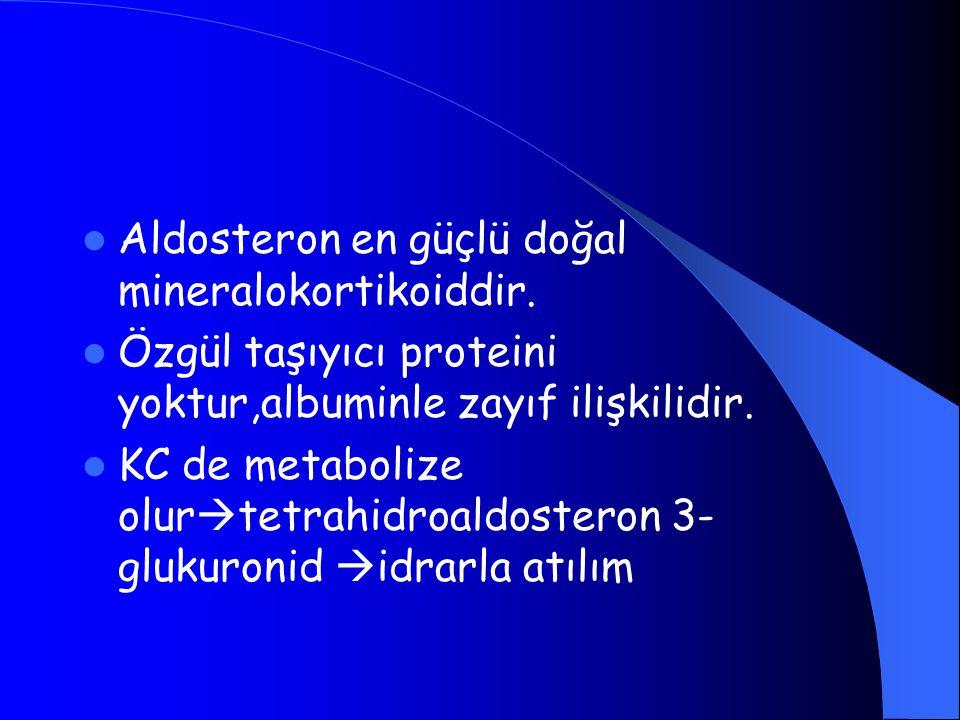 Aldosteron en güçlü doğal mineralokortikoiddir.