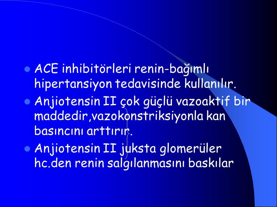 ACE inhibitörleri renin-bağımlı hipertansiyon tedavisinde kullanılır.