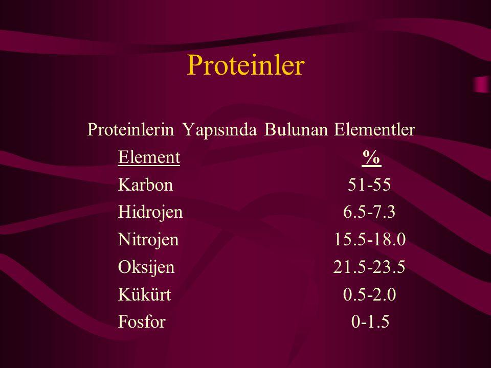 Proteinler Proteinlerin Yapısında Bulunan Elementler Element %