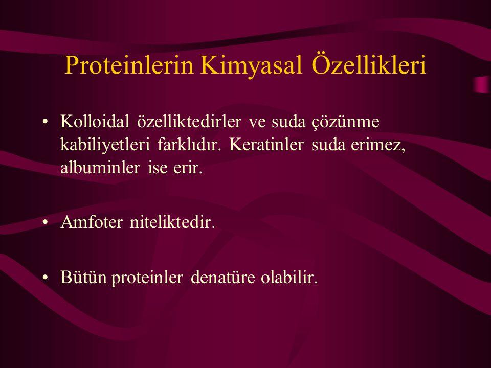 Proteinlerin Kimyasal Özellikleri