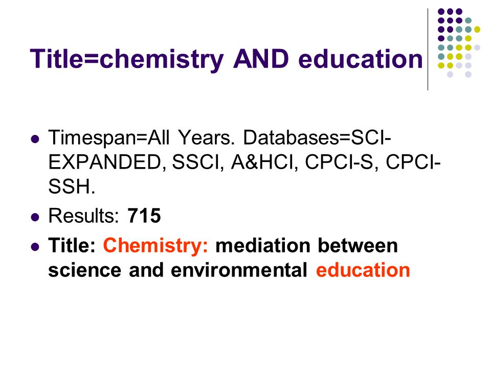 Title=chemistry AND education