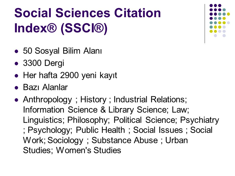 Social Sciences Citation Index® (SSCI®)