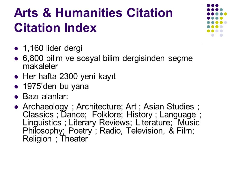 Arts & Humanities Citation Citation Index