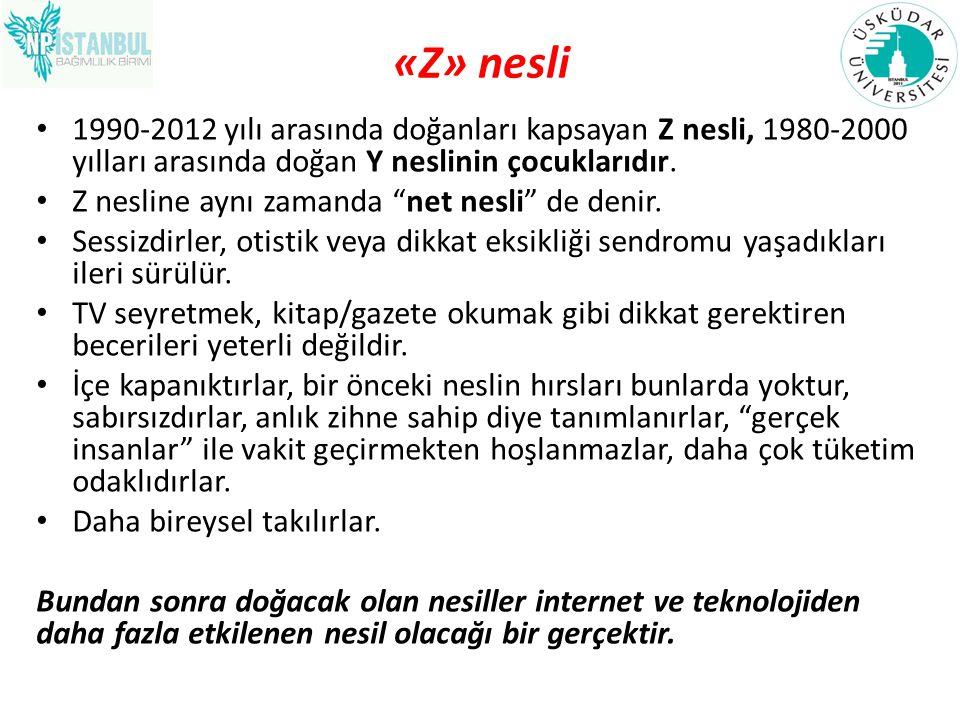 «Z» nesli 1990-2012 yılı arasında doğanları kapsayan Z nesli, 1980-2000 yılları arasında doğan Y neslinin çocuklarıdır.