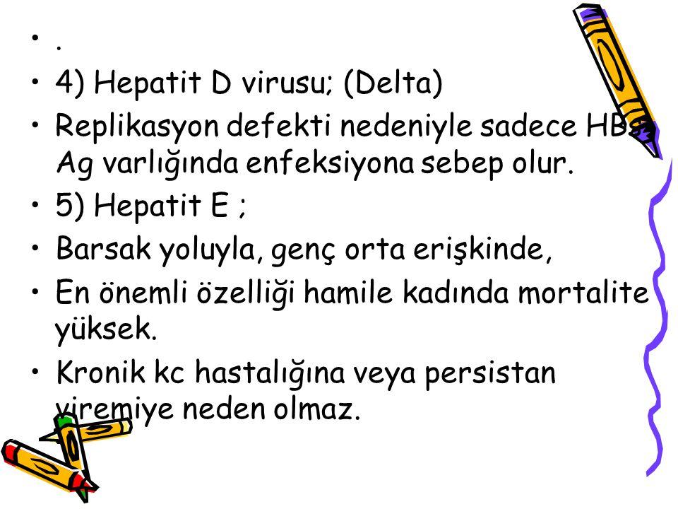 . 4) Hepatit D virusu; (Delta) Replikasyon defekti nedeniyle sadece HBs Ag varlığında enfeksiyona sebep olur.