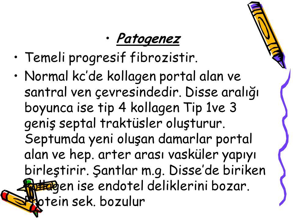 Patogenez Temeli progresif fibrozistir.