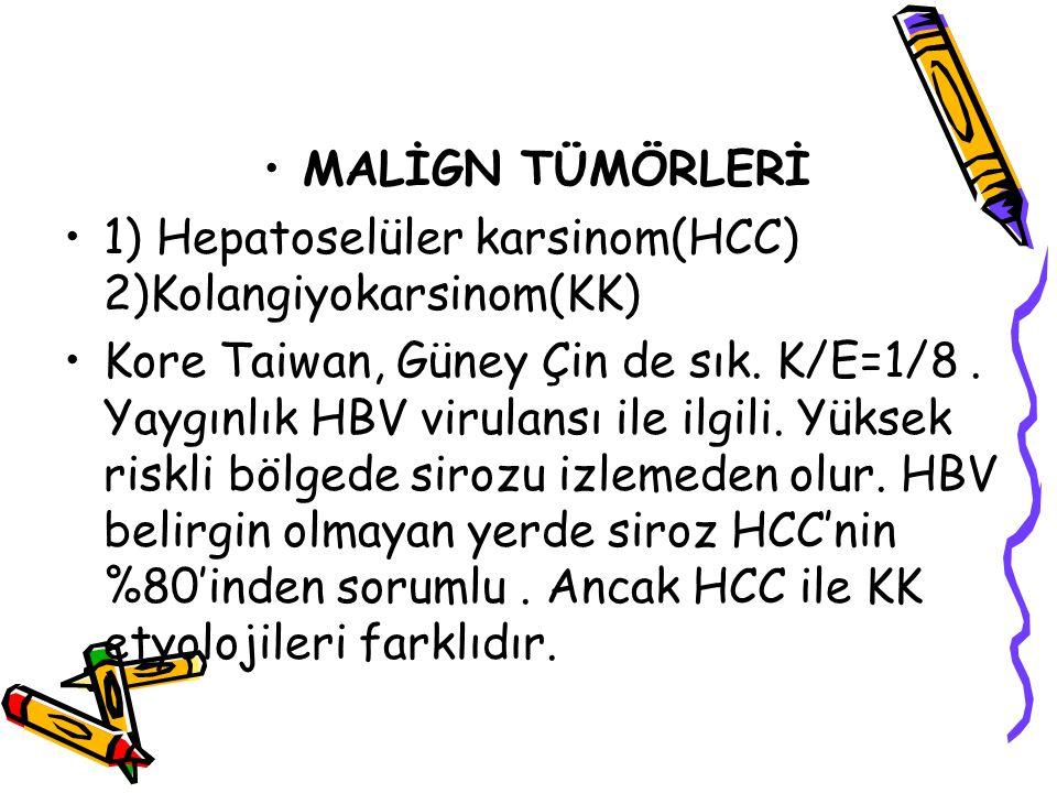 MALİGN TÜMÖRLERİ 1) Hepatoselüler karsinom(HCC) 2)Kolangiyokarsinom(KK)
