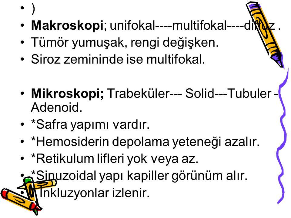 ) Makroskopi; unifokal----multifokal----diffuz . Tümör yumuşak, rengi değişken. Siroz zemininde ise multifokal.