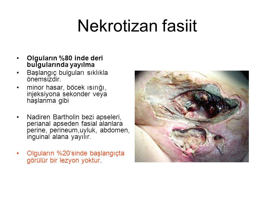 Nekrotizan fasiit Olguların %80 inde deri bulgularında yayılma