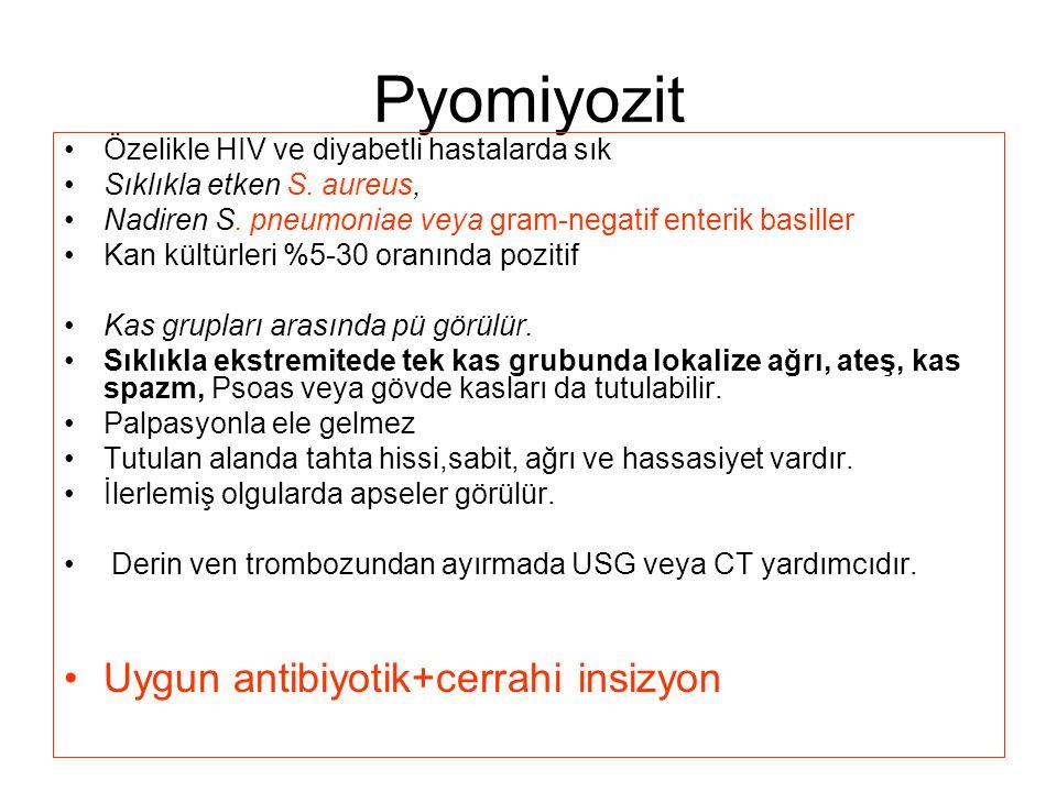 Pyomiyozit Uygun antibiyotik+cerrahi insizyon