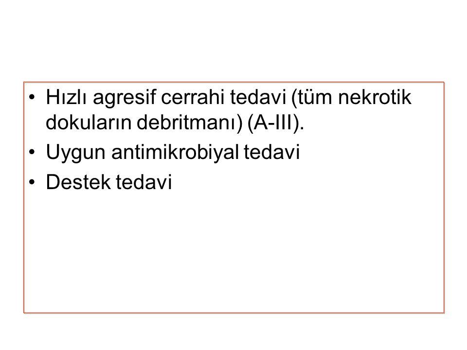 Hızlı agresif cerrahi tedavi (tüm nekrotik dokuların debritmanı) (A-III).