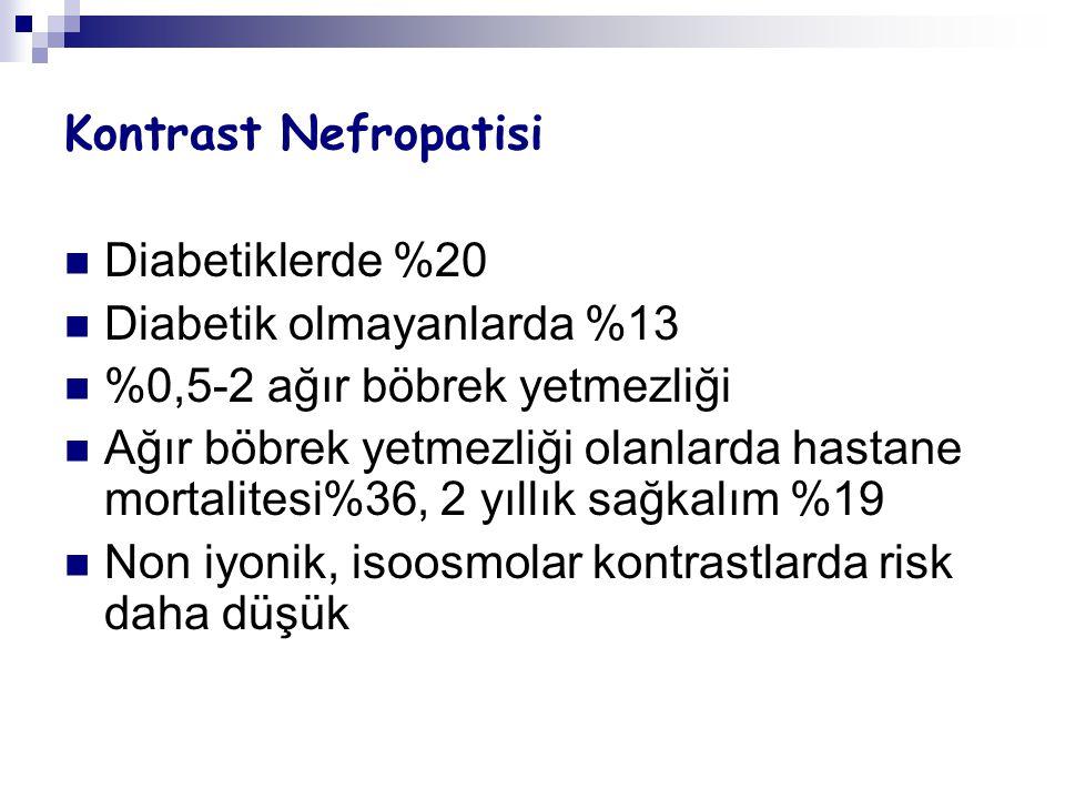 Kontrast Nefropatisi Diabetiklerde %20. Diabetik olmayanlarda %13. %0,5-2 ağır böbrek yetmezliği.