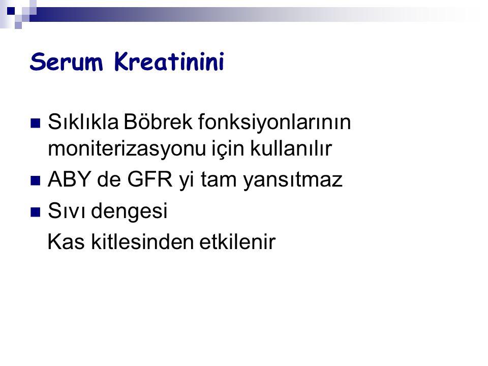 Serum Kreatinini Sıklıkla Böbrek fonksiyonlarının moniterizasyonu için kullanılır. ABY de GFR yi tam yansıtmaz.