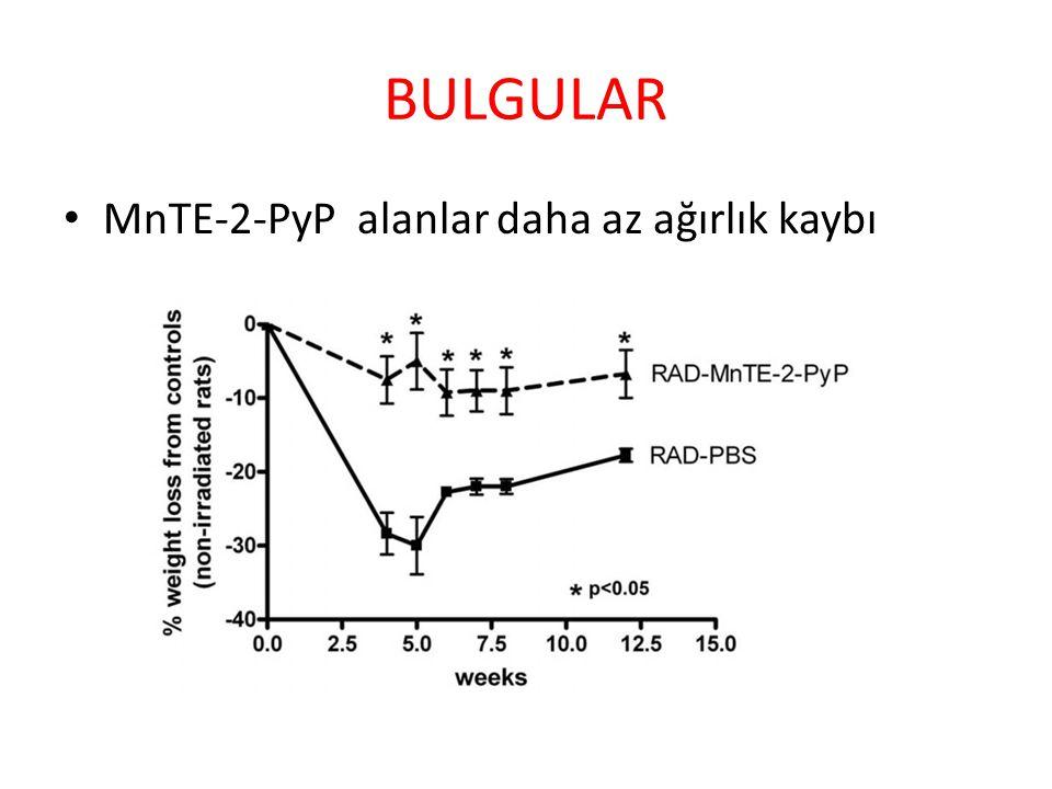 BULGULAR MnTE-2-PyP alanlar daha az ağırlık kaybı