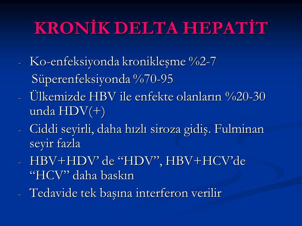 KRONİK DELTA HEPATİT Ko-enfeksiyonda kronikleşme %2-7