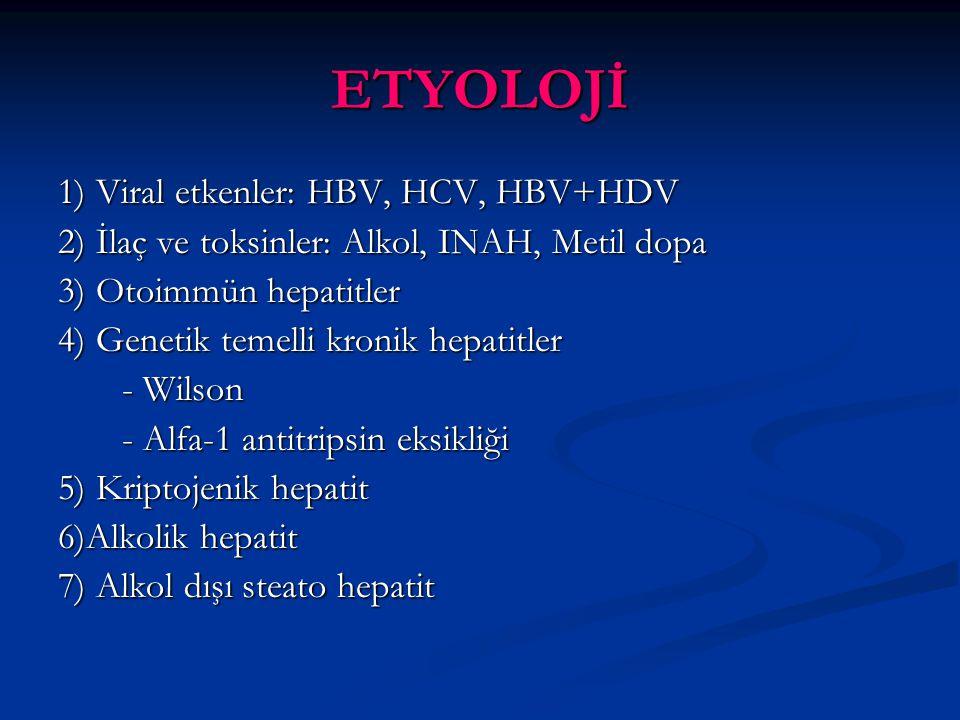 ETYOLOJİ 1) Viral etkenler: HBV, HCV, HBV+HDV
