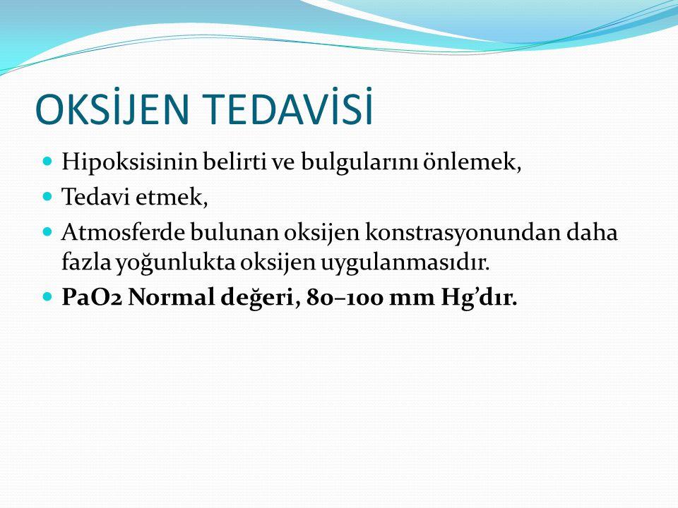 OKSİJEN TEDAVİSİ Hipoksisinin belirti ve bulgularını önlemek,