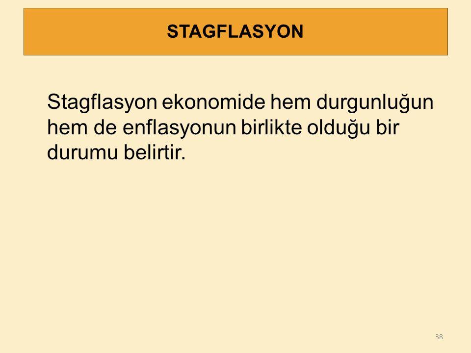 STAGFLASYON Stagflasyon ekonomide hem durgunluğun hem de enflasyonun birlikte olduğu bir durumu belirtir.