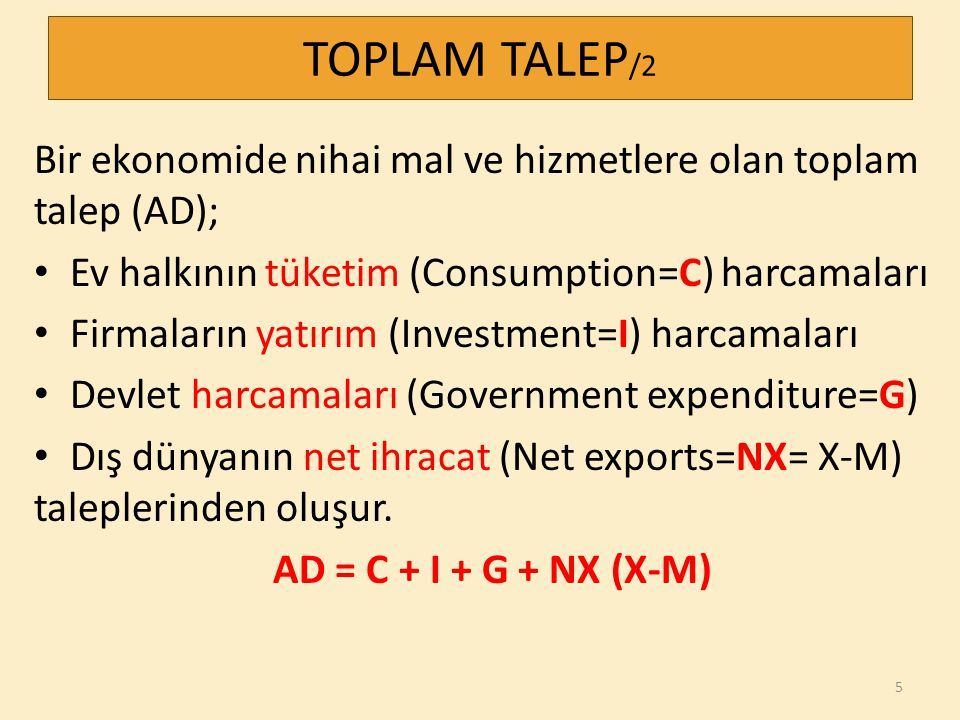 TOPLAM TALEP/2 Bir ekonomide nihai mal ve hizmetlere olan toplam talep (AD); Ev halkının tüketim (Consumption=C) harcamaları.