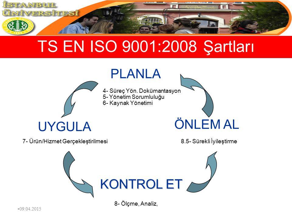 TS EN ISO 9001:2008 Şartları PLANLA ÖNLEM AL UYGULA KONTROL ET