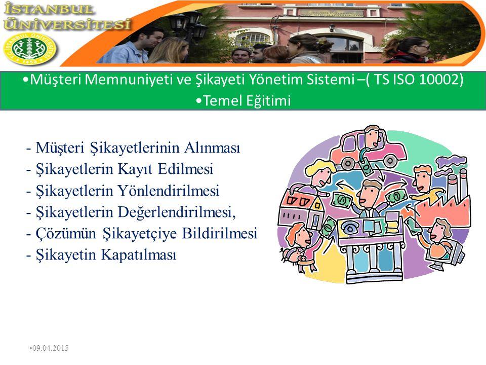 Müşteri Memnuniyeti ve Şikayeti Yönetim Sistemi –( TS ISO 10002)
