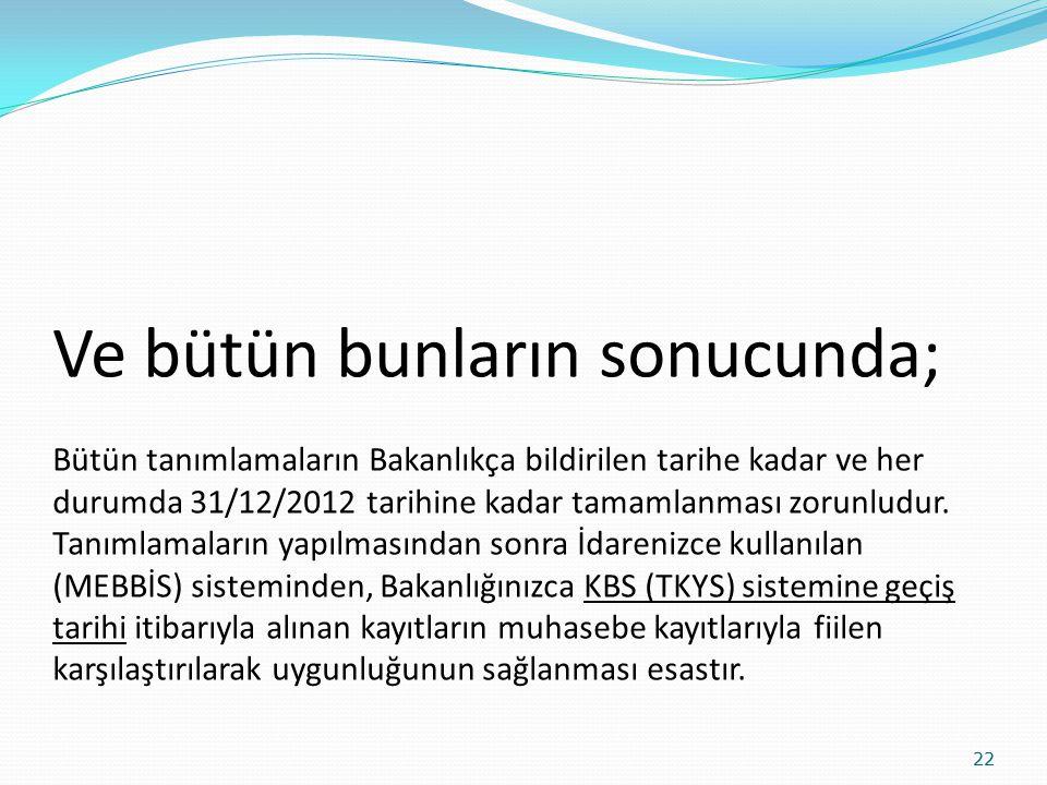 Ve bütün bunların sonucunda; Bütün tanımlamaların Bakanlıkça bildirilen tarihe kadar ve her durumda 31/12/2012 tarihine kadar tamamlanması zorunludur.
