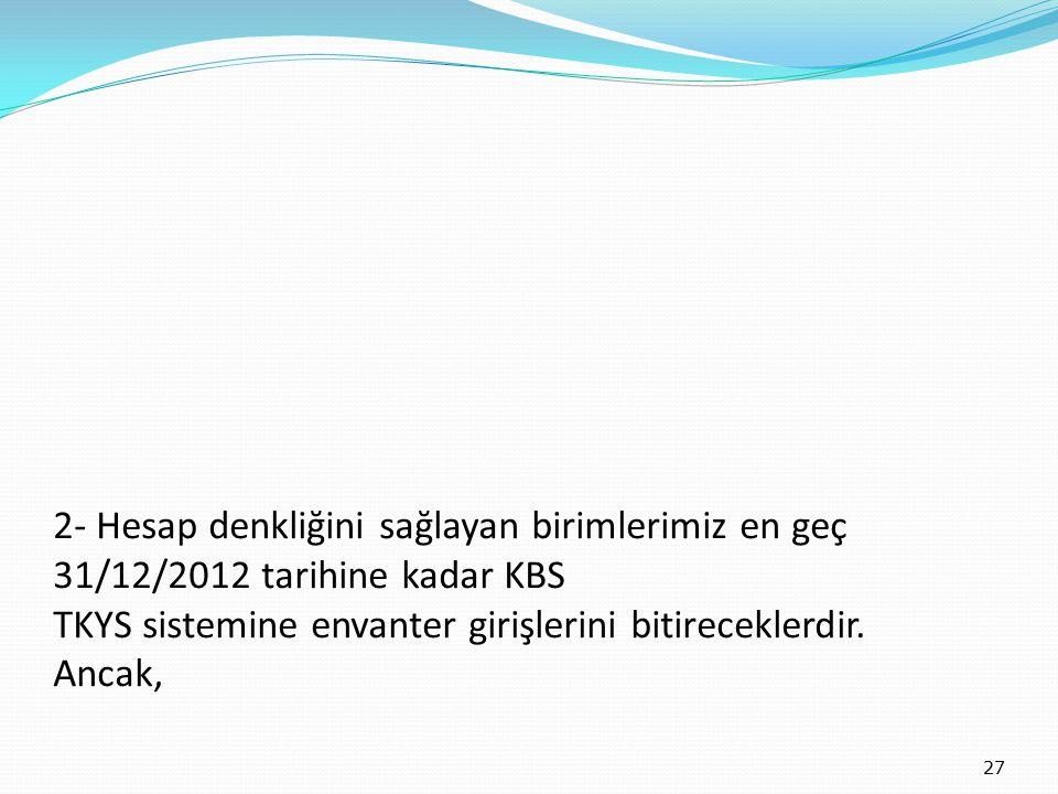 2- Hesap denkliğini sağlayan birimlerimiz en geç 31/12/2012 tarihine kadar KBS TKYS sistemine envanter girişlerini bitireceklerdir.
