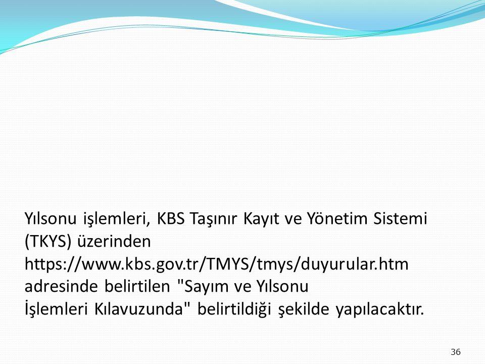 Yılsonu işlemleri, KBS Taşınır Kayıt ve Yönetim Sistemi (TKYS) üzerinden https://www.kbs.gov.tr/TMYS/tmys/duyurular.htm adresinde belirtilen Sayım ve Yılsonu İşlemleri Kılavuzunda belirtildiği şekilde yapılacaktır.