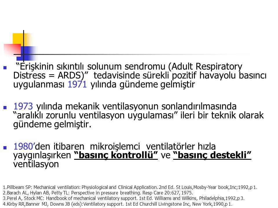 Erişkinin sıkıntılı solunum sendromu (Adult Respiratory Distress = ARDS) tedavisinde sürekli pozitif havayolu basıncı uygulanması 1971 yılında gündeme gelmiştir