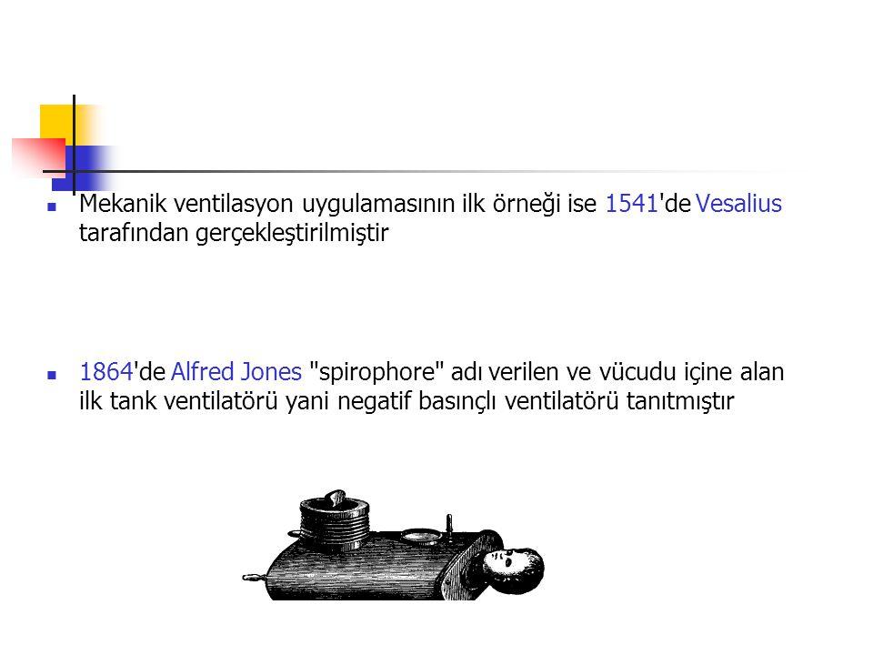 Mekanik ventilasyon uygulamasının ilk örneği ise 1541 de Vesalius tarafından gerçekleştirilmiştir