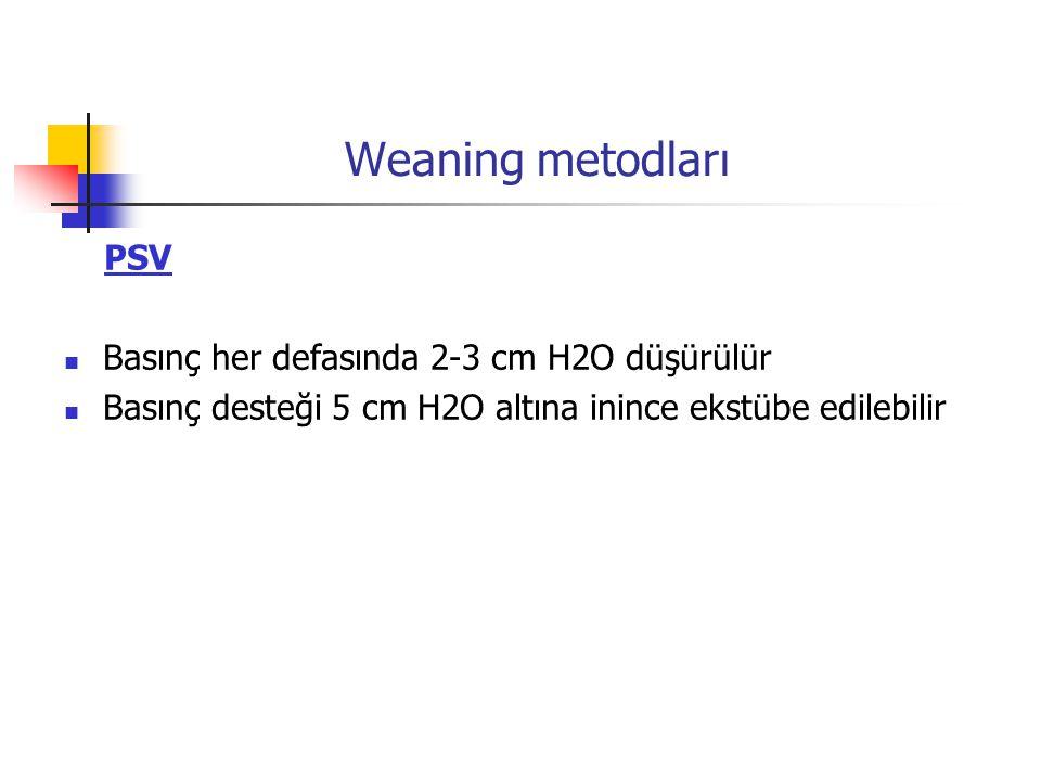 Weaning metodları PSV Basınç her defasında 2-3 cm H2O düşürülür