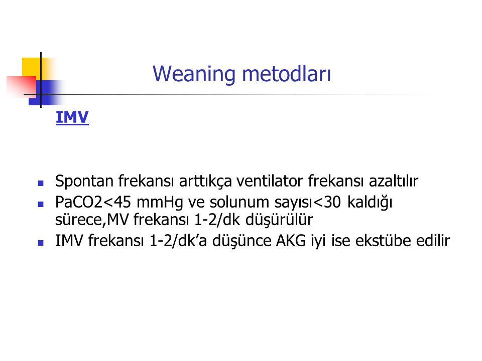 Weaning metodları IMV. Spontan frekansı arttıkça ventilator frekansı azaltılır.