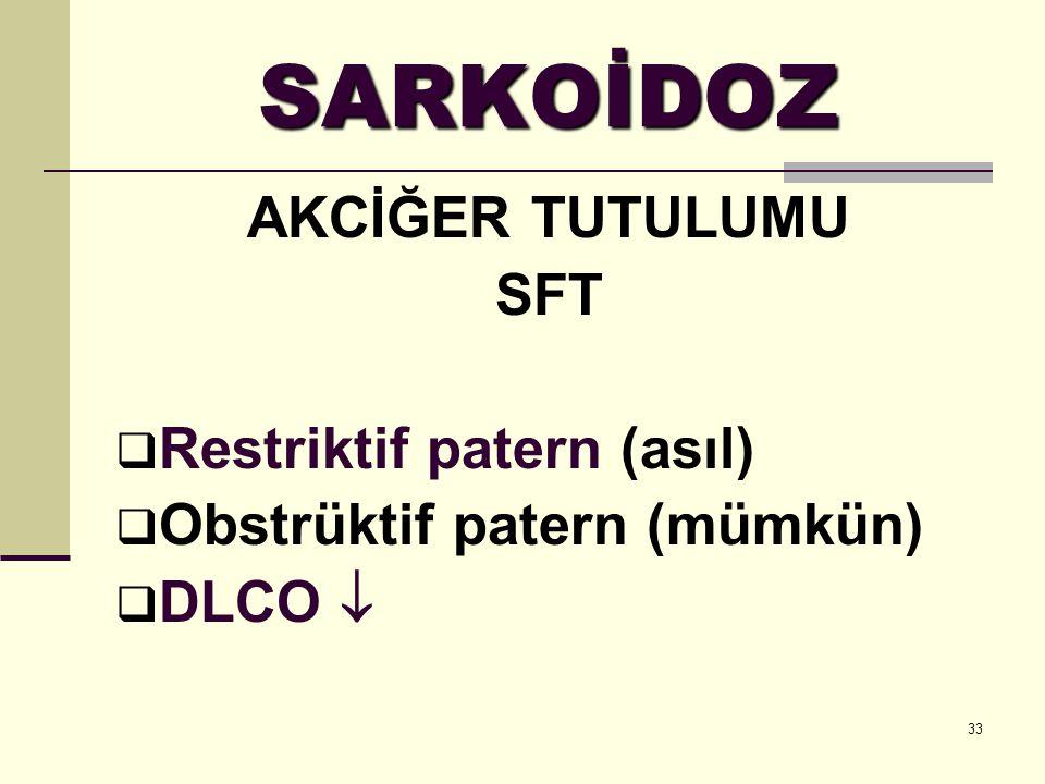 SARKOİDOZ AKCİĞER TUTULUMU SFT Restriktif patern (asıl)