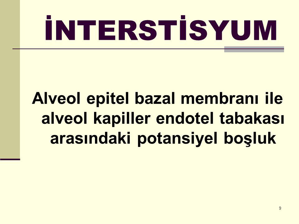 İNTERSTİSYUM Alveol epitel bazal membranı ile alveol kapiller endotel tabakası arasındaki potansiyel boşluk.