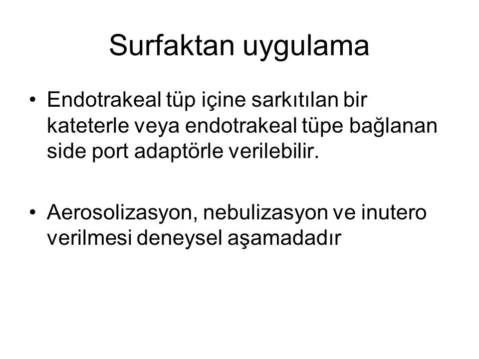 Surfaktan uygulama Endotrakeal tüp içine sarkıtılan bir kateterle veya endotrakeal tüpe bağlanan side port adaptörle verilebilir.